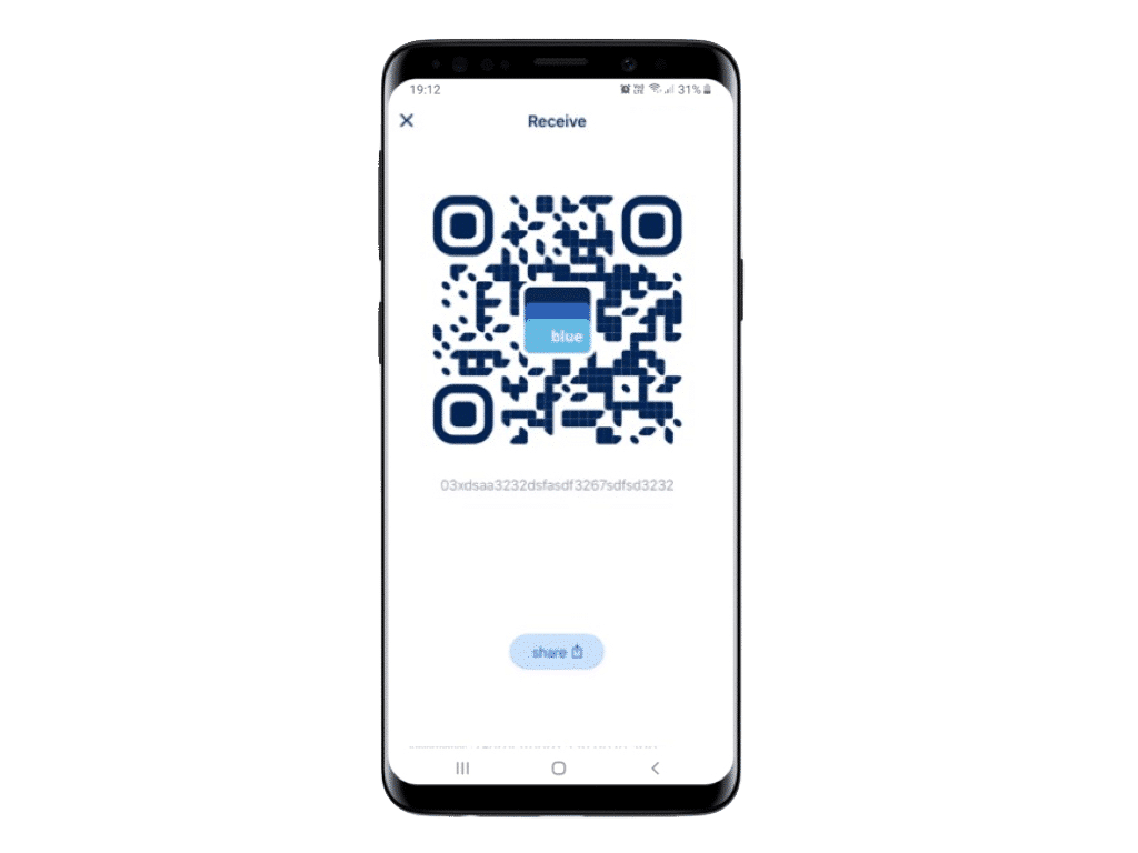 je bitcoin adres wordt weergegeven als een stukje code of als QR code die mag delen met anderen