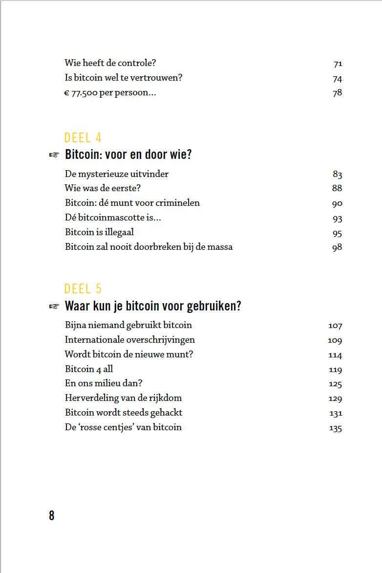 Bitcoin voor beginners boek - inhoudstafel 3