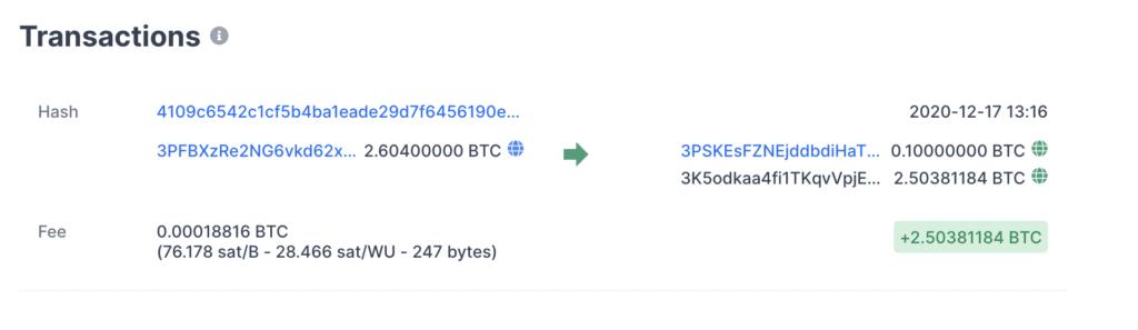 Dit is een voorbeeld van een bitcoin transactie